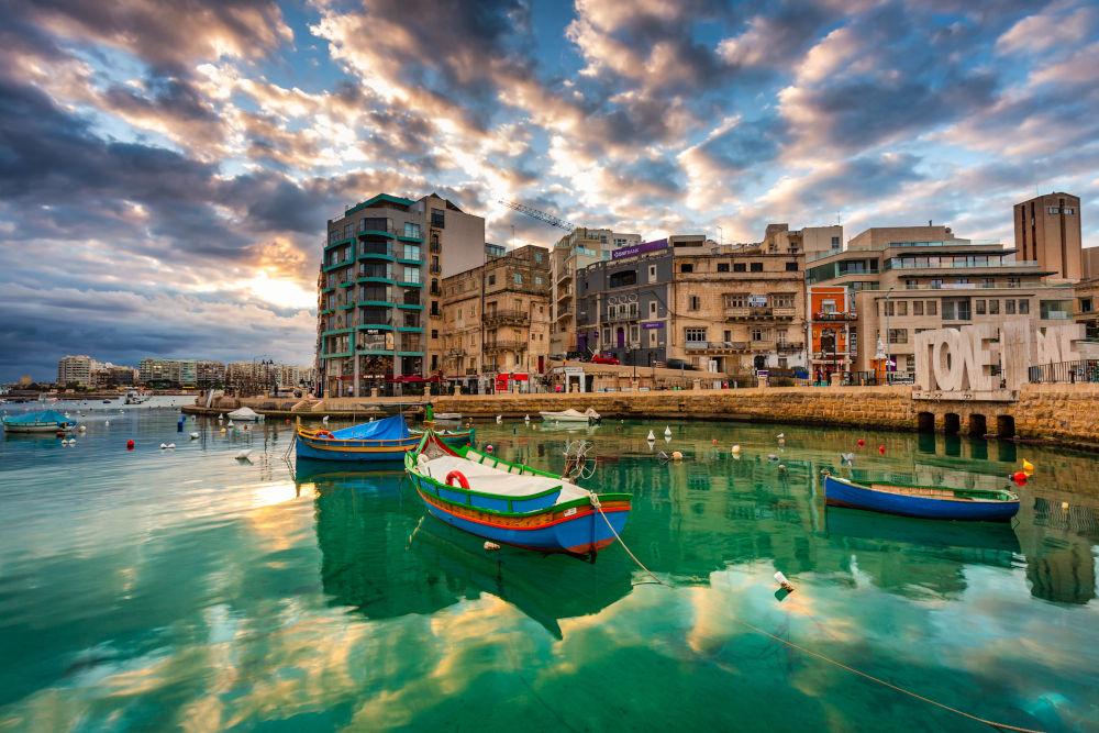 Dawn over the St. Julian's town on Malta
