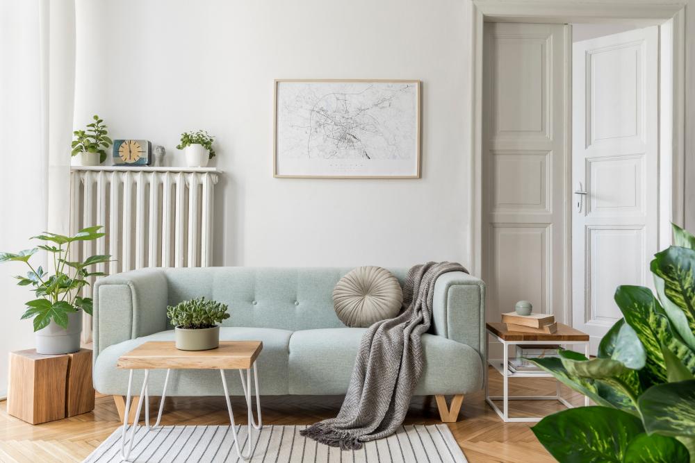 Stylish scandinavian living room interior of modern apartment