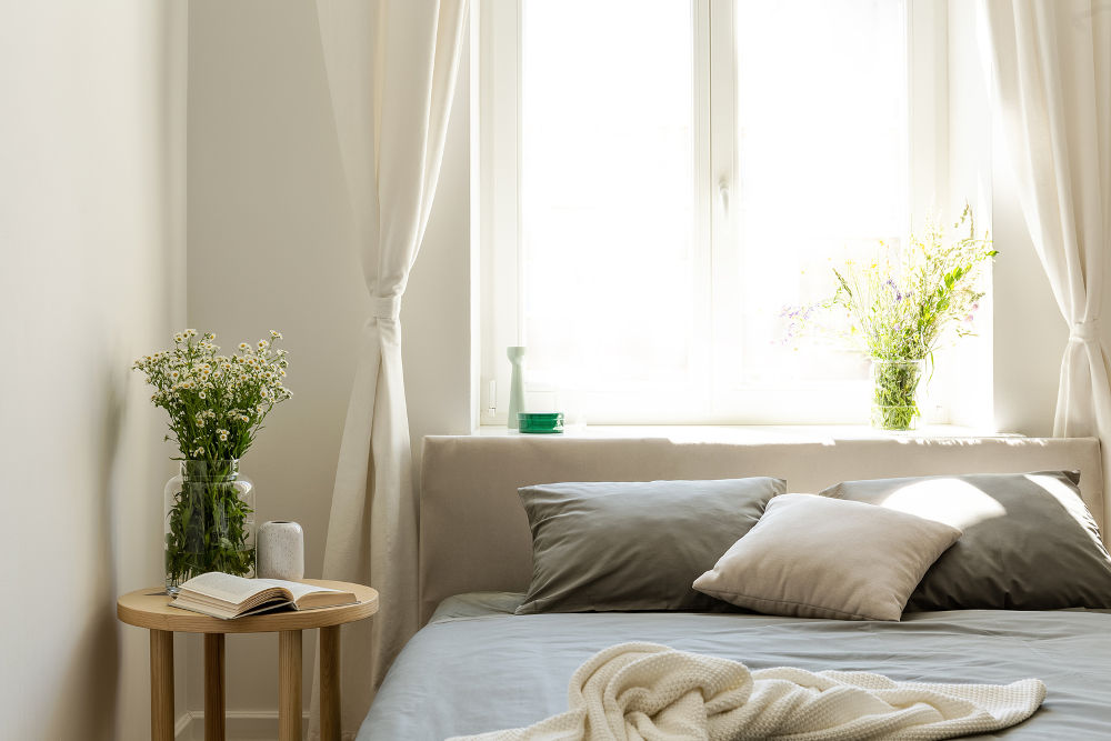 Sunny natural style bedroom interior