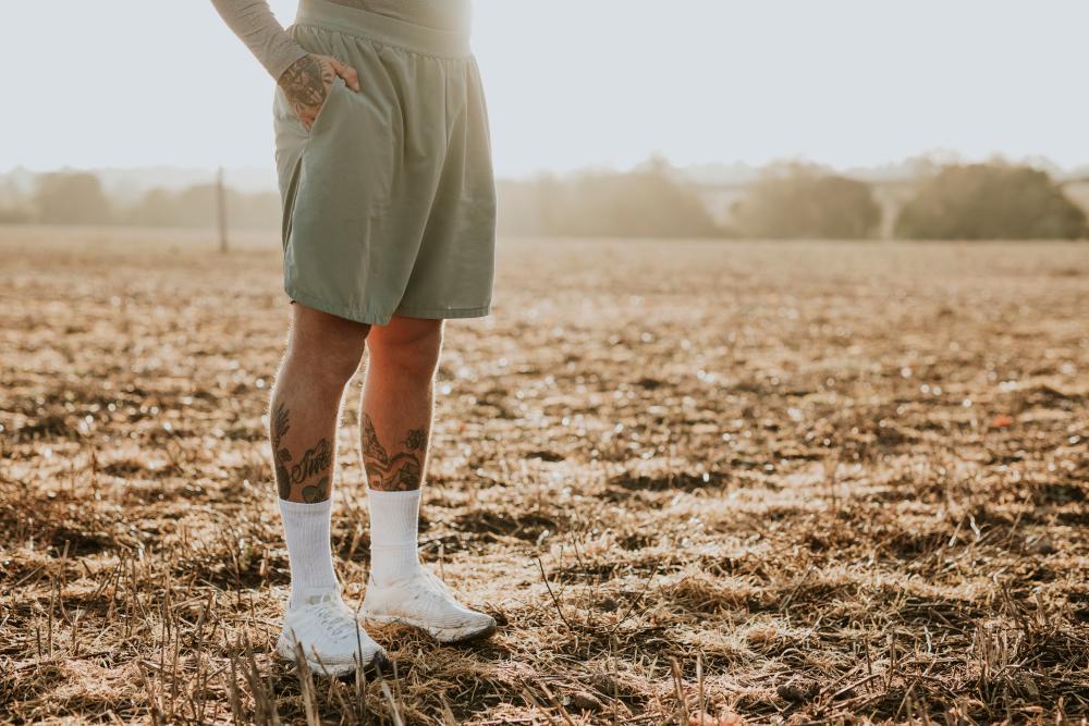 man in running shorts