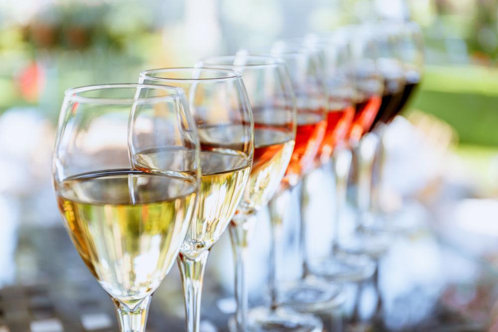 Wine tasting set in the light summer environment