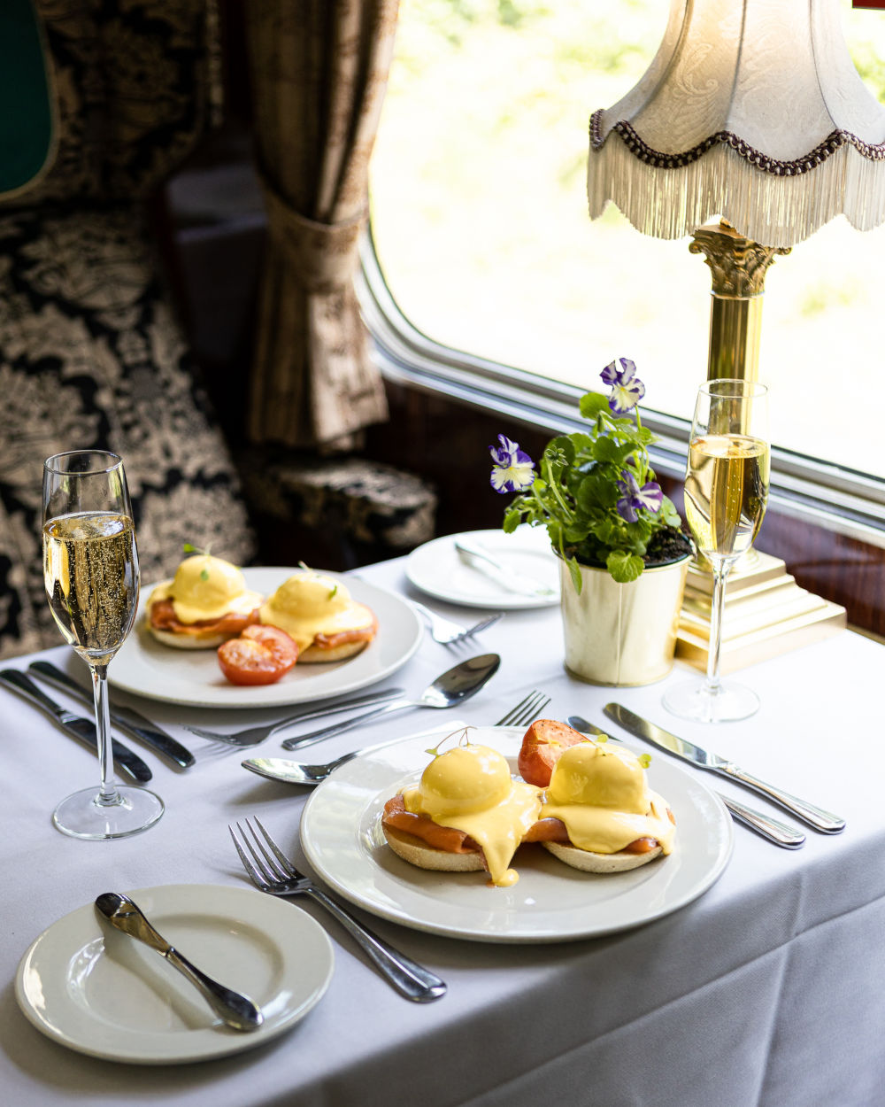 Eggs royale set up on the table