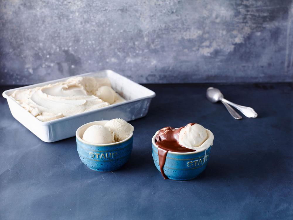 Vanilla Ice Cream with Warm Chocolate Sauce