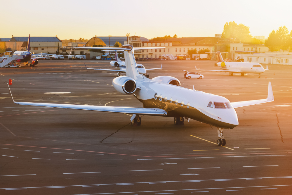 Private jet aircraft at airport