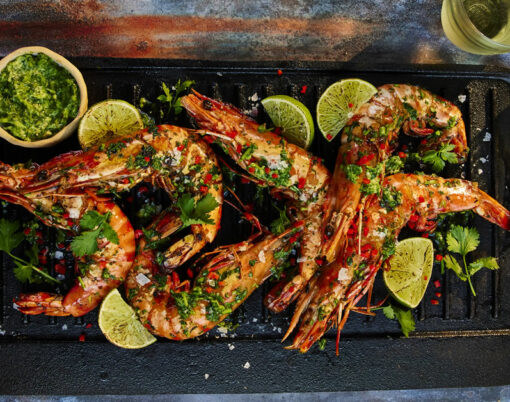 Barbecue prawns with chilli, ginger, coriander and fresh lime by Maldon Salt