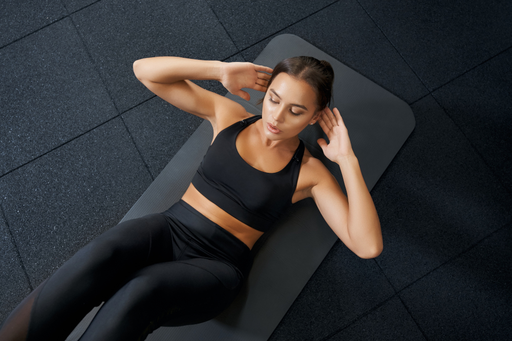 Woman doing abs exercise workout