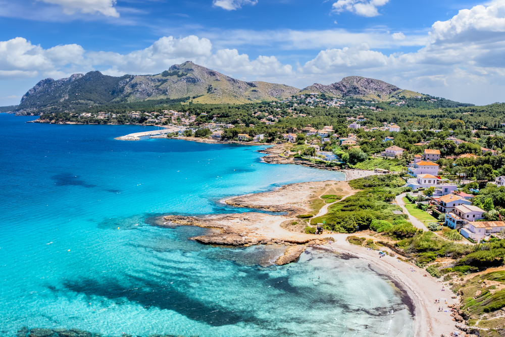 Aerial view with Sant Pere beach of Alcudia, Mallorca island, Spain