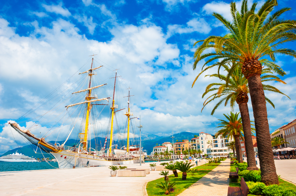 Beautiful promenade with palms in sea port of Tivat
