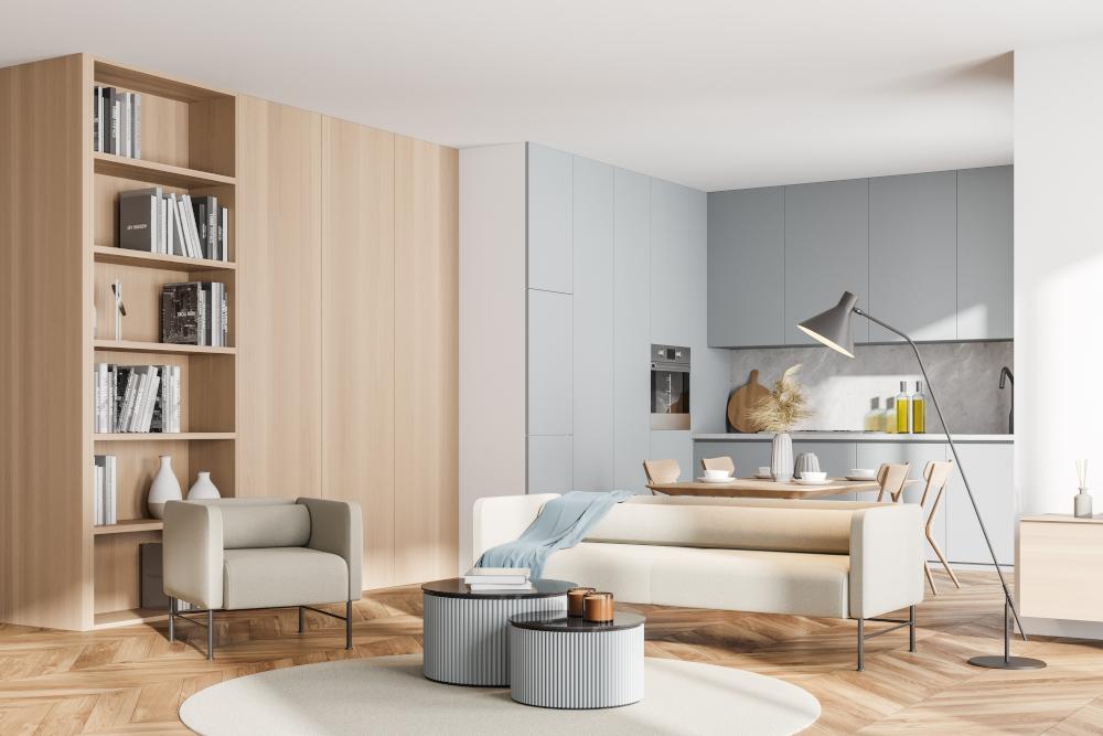 Bright modern kitchen room interior