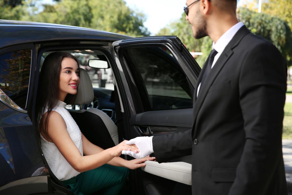 Driver opening car door