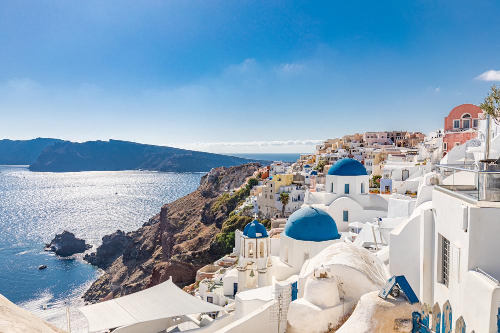 Famous blue dome churches in Oia, Santorini