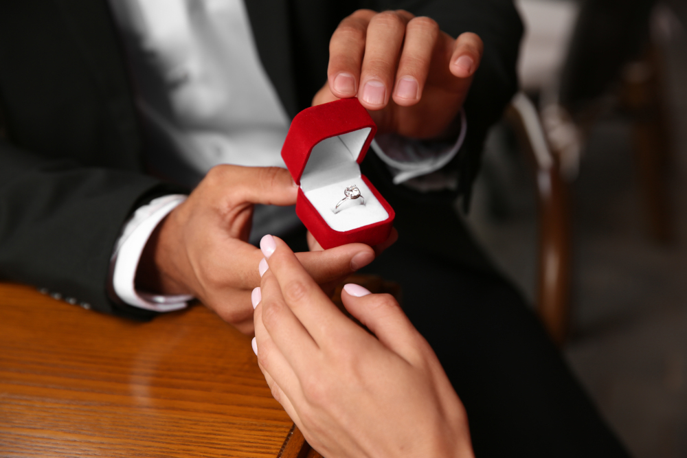 Man with engagement ring making proposal to his girlfriend