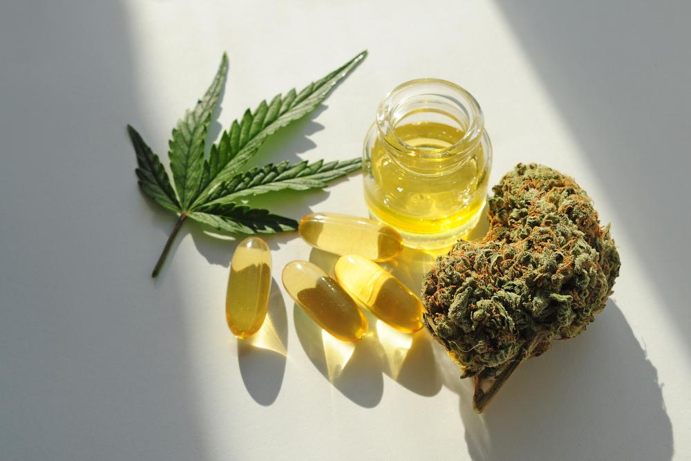 Marijuana buds, oil pills, cbd