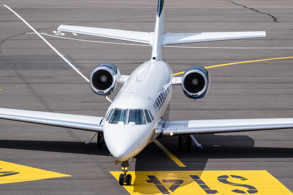 Private jet on the platform at the airport