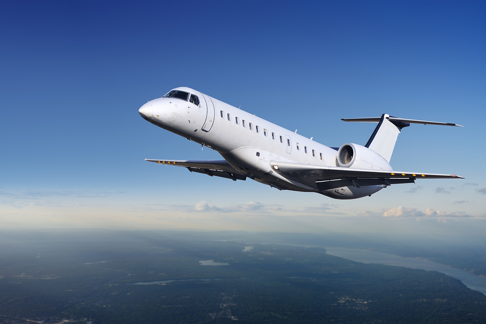 Private Jet plane in the sky