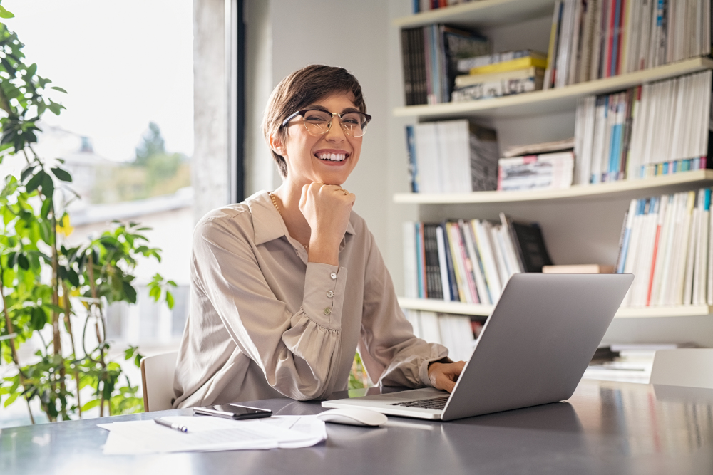 Business woman sitting in creative office