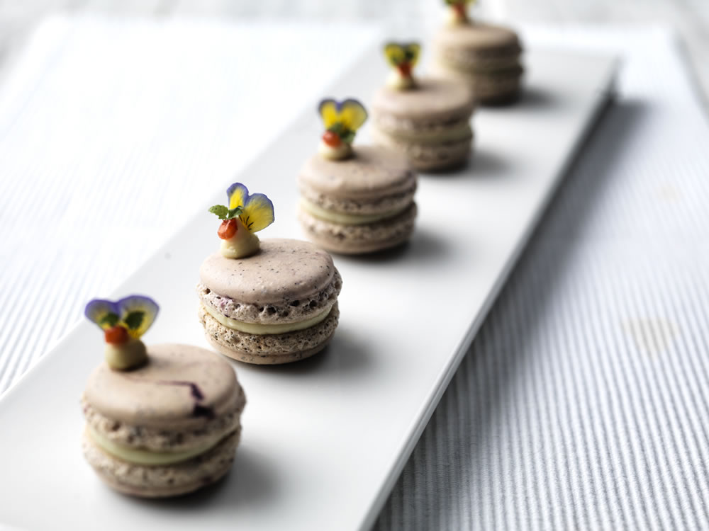 Earl Grey and strawberry macarons