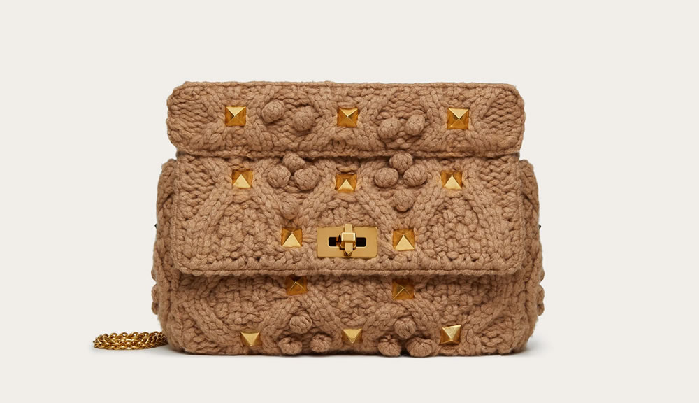 Large Roman Stud cashmere tricot bag with chain