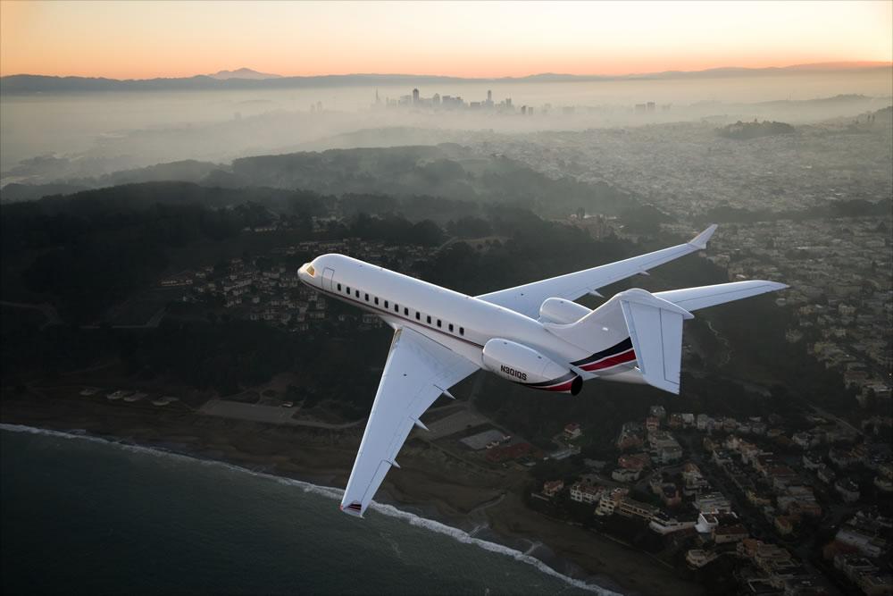 private jet in sky