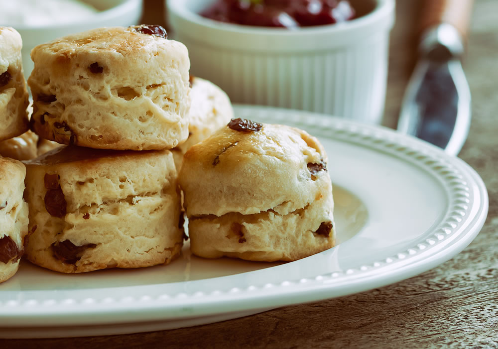 Home baked fruit scones