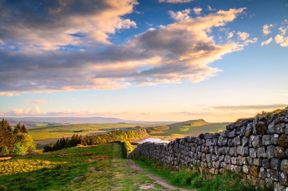 Hadrian's Wall above Hotbank Crags, a UNESCO World Heritage Site in the beautiful Northumberland National Park