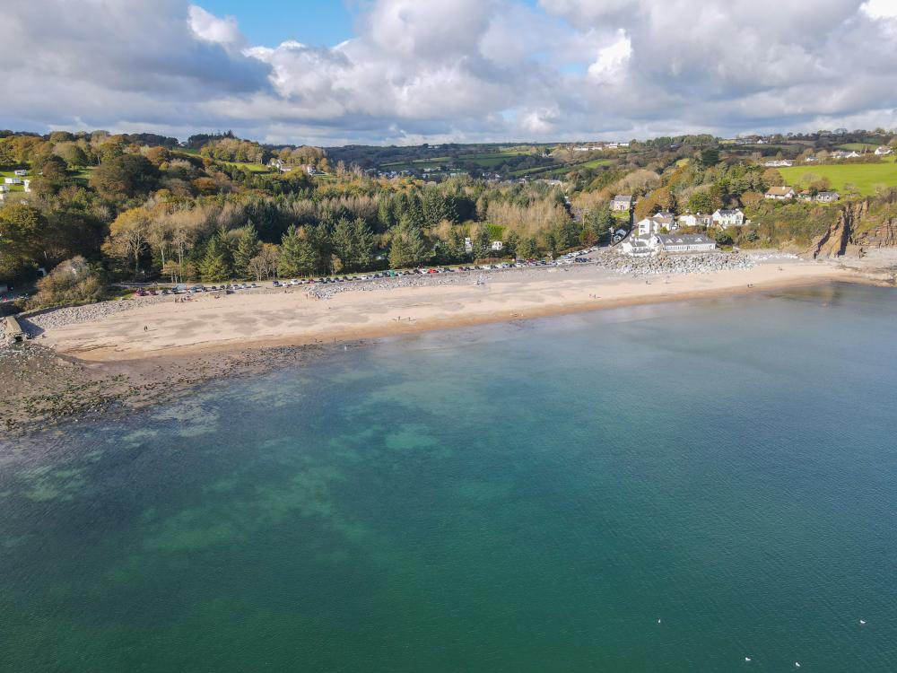 Ariel coastal image of Wisemans Bridge beach, Pembrokeshire