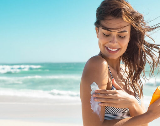woman in the sun on the beach