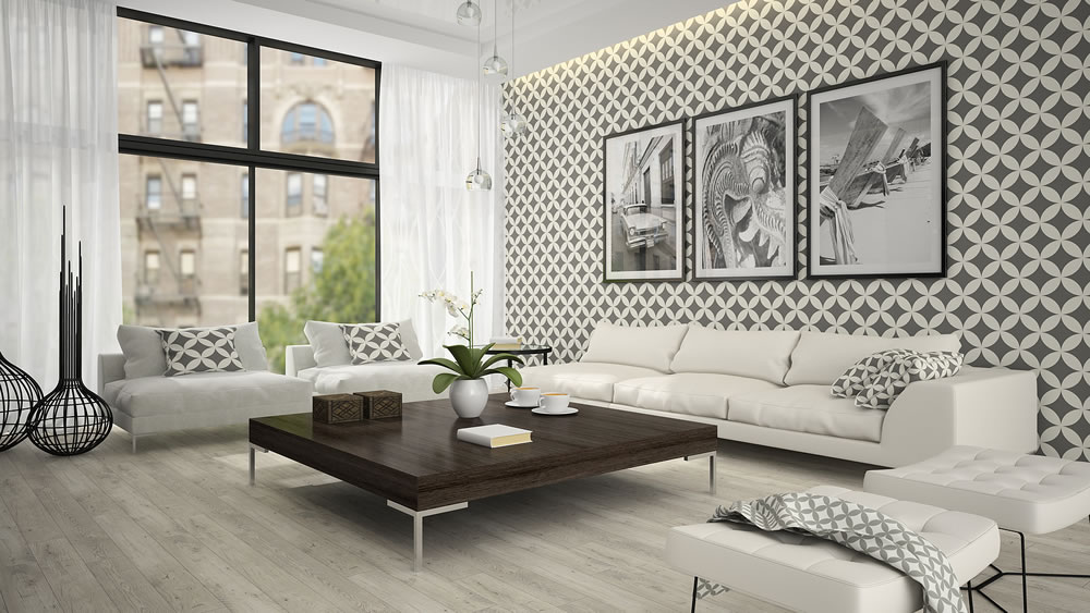 stylish apartment with wallpaper