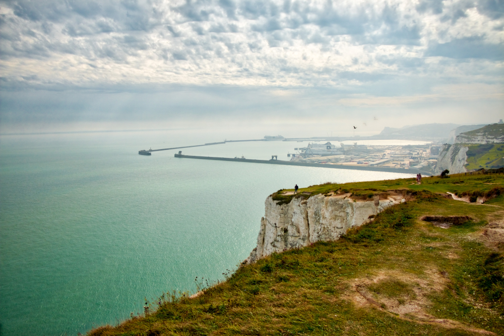 View of the English channel as seen from above the White cliffs of Dover