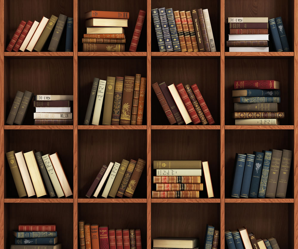 books in home library