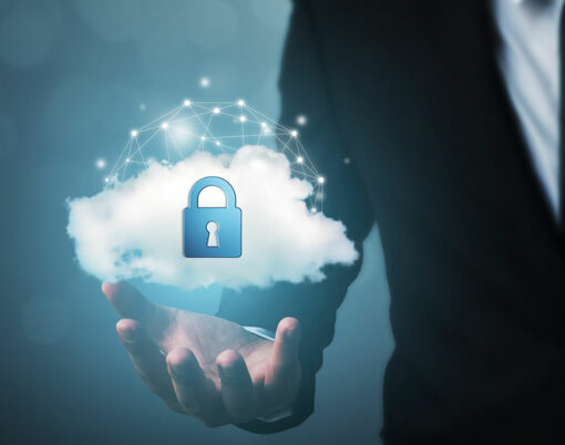 Protection cloud computing network security computer and safe your data concept
