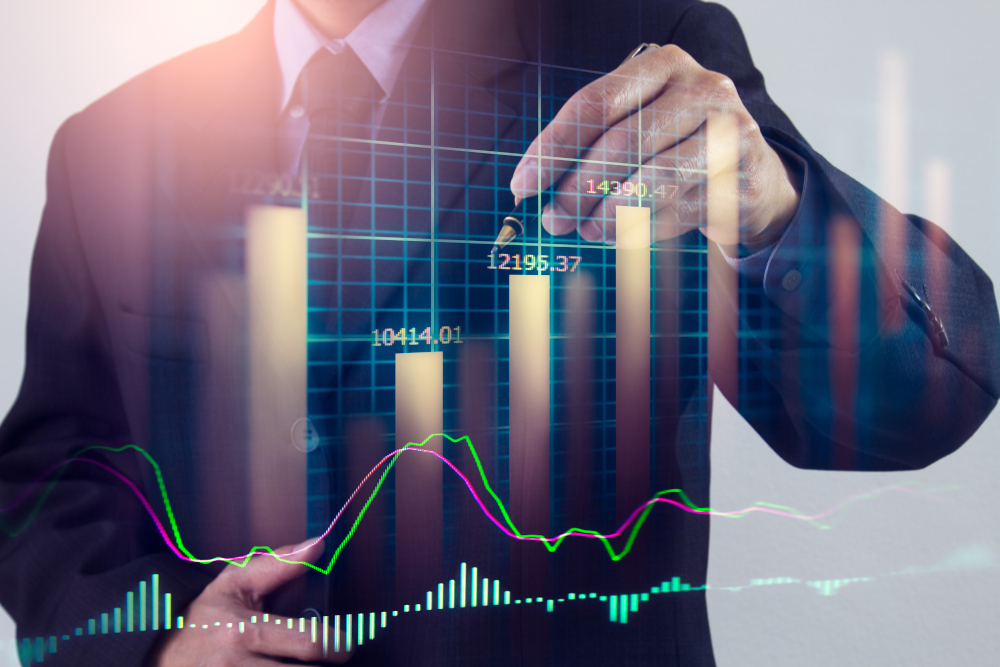 Stock market graph and business financial data on LED