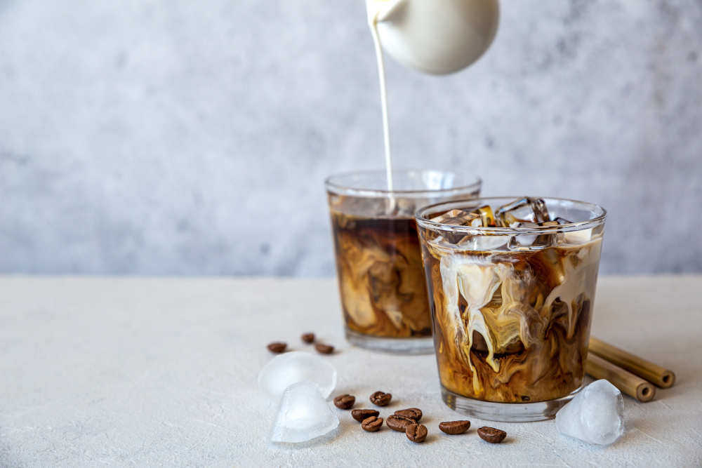 Two glass iced coffees