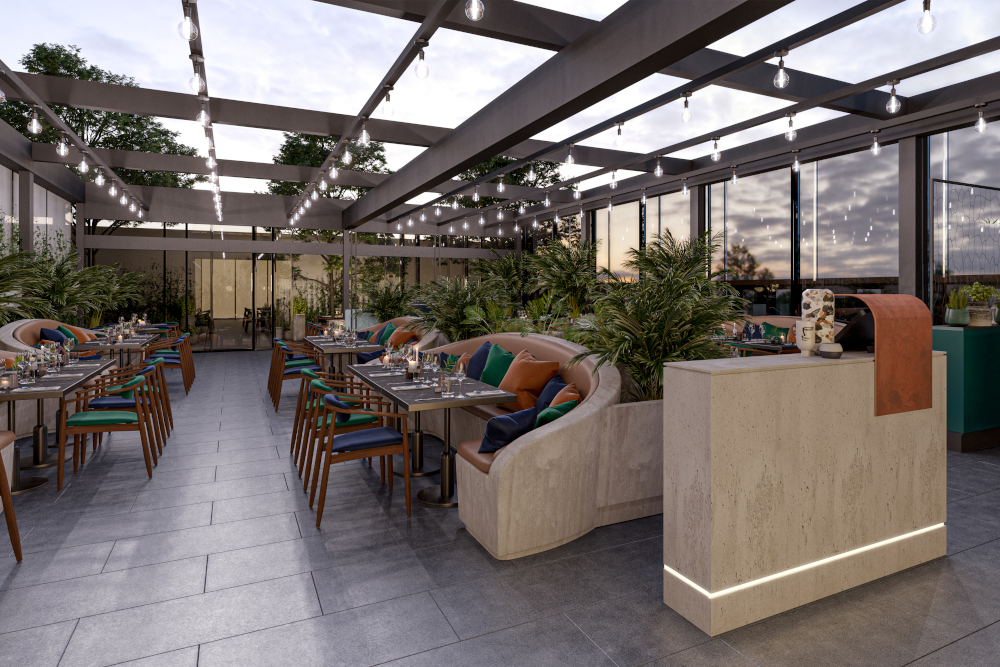 Rooftop bar at The Gantry