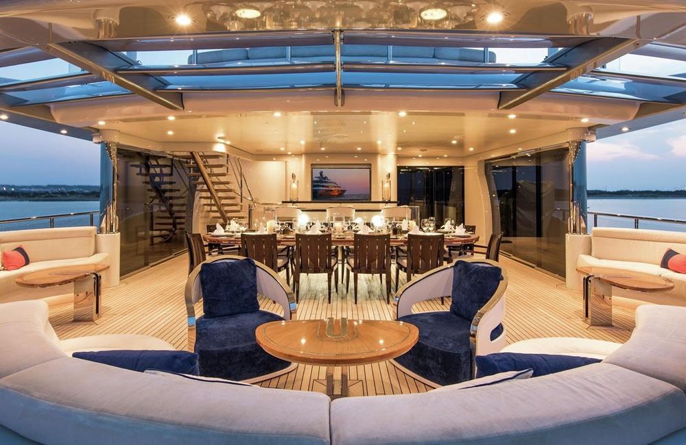 luxury yacht interior shot