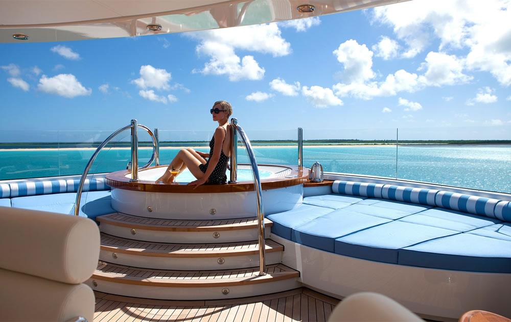 luxury yacht hot tub on deck