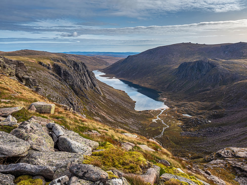 Looking out over the remote and wild Loch Avon deep in the Cairngorm National Park, Scotland