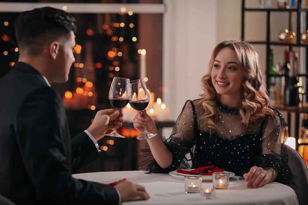 drinking wine in a restaurant