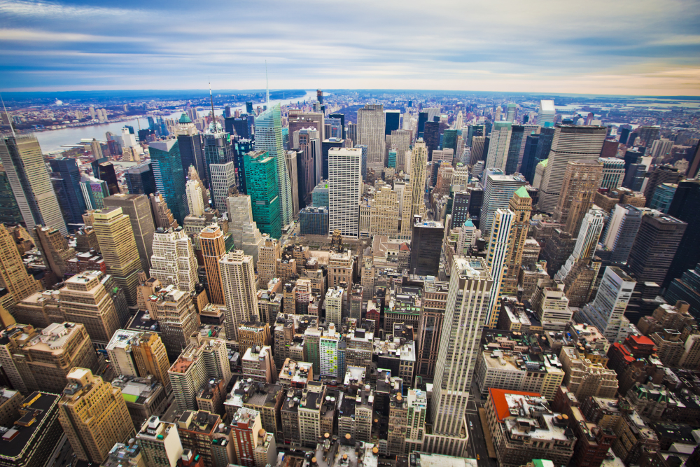 Midtown and lower Manhattan in New York City