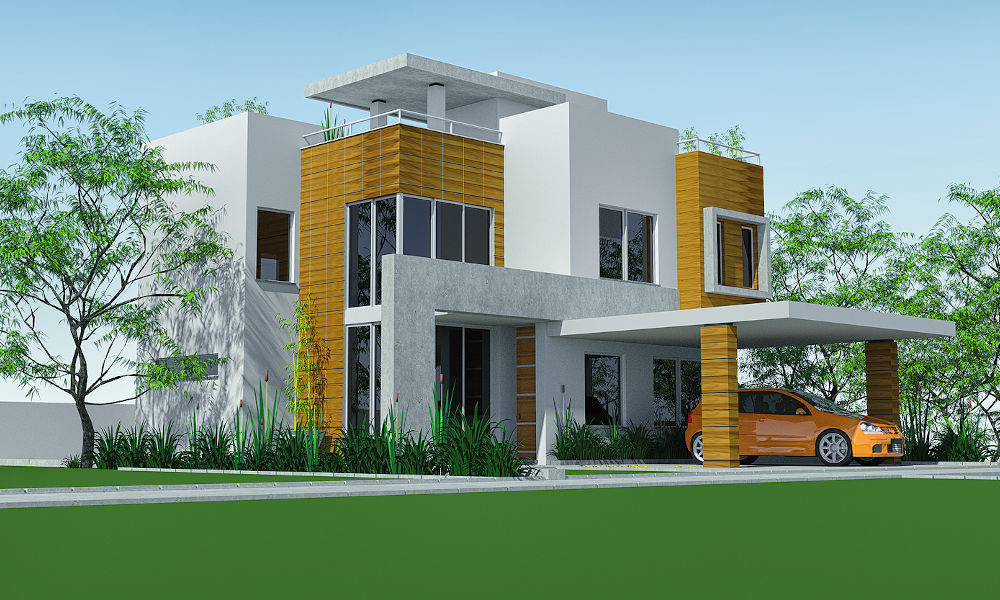 carport luxury home render