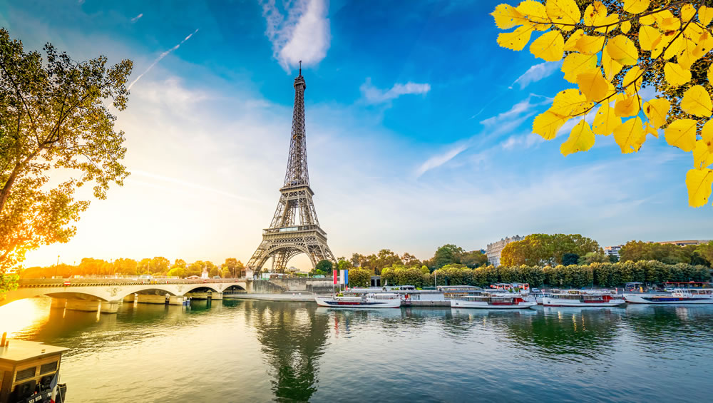 Paris Eiffel Tower and river Seine with sunrise in Paris, France