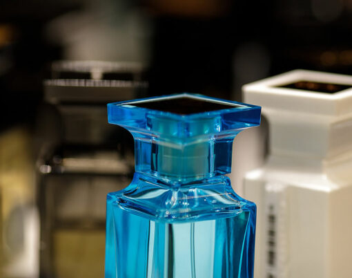 Perfume bottles. Fragrance for man and woman. stylish luxury perfume store with fragrance