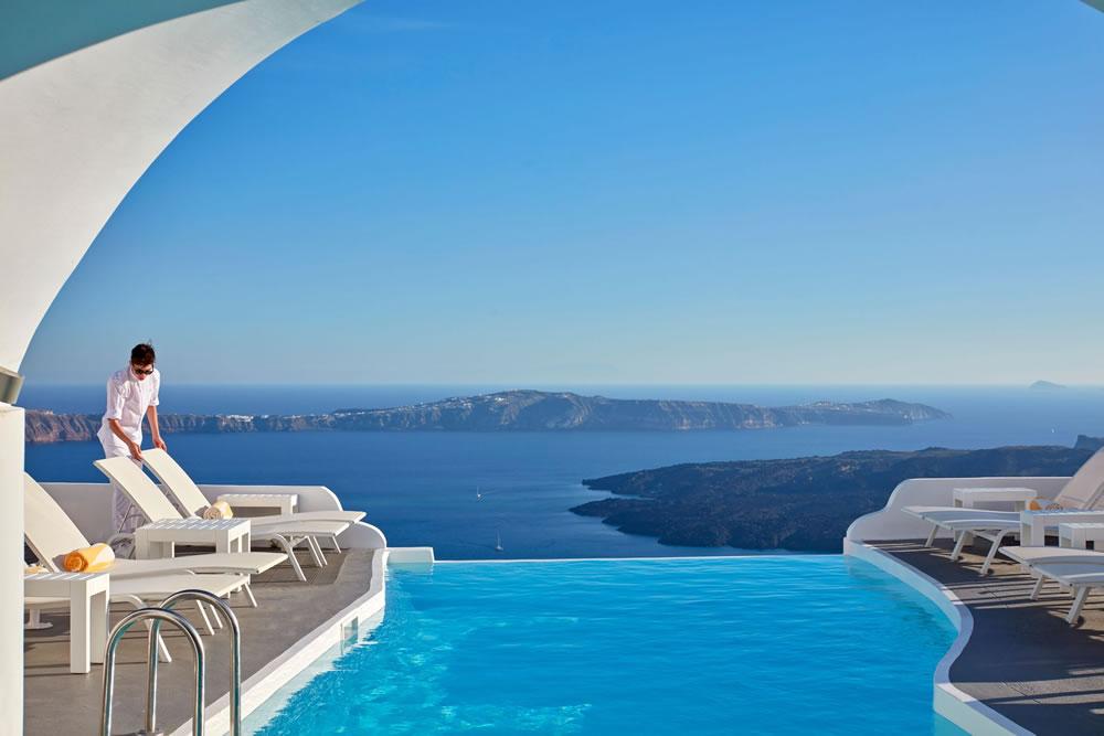 Swimming pool at Katikies Chromata, Santorini