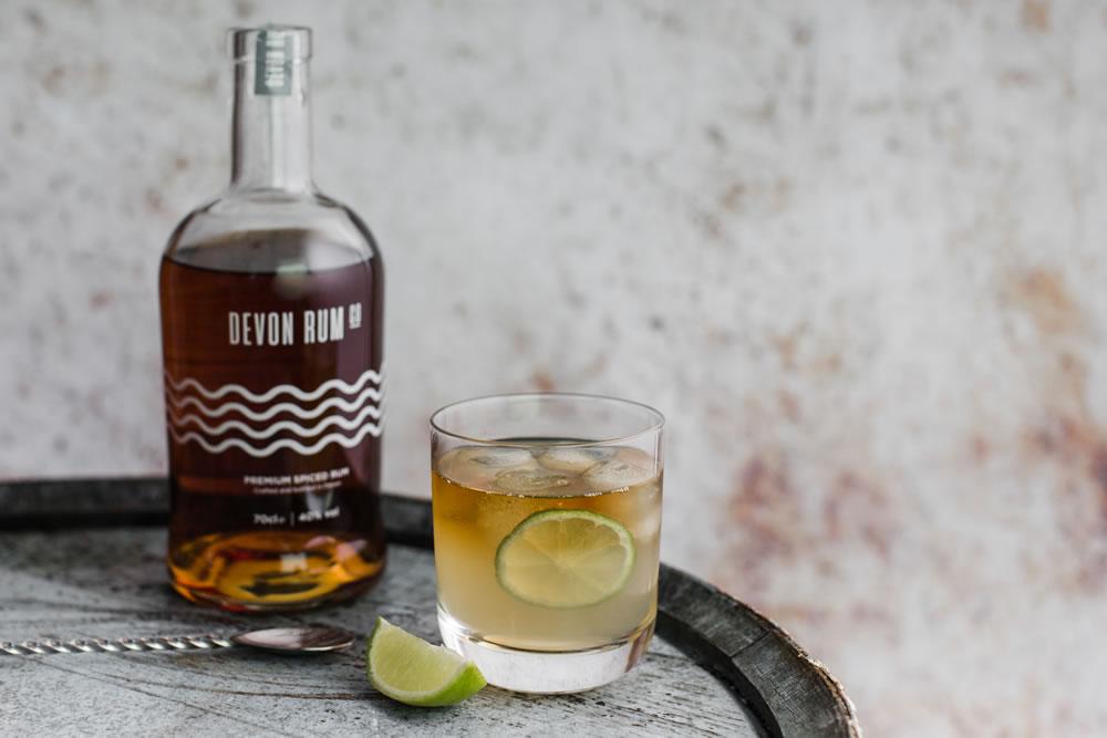Devon Rum Company with glass