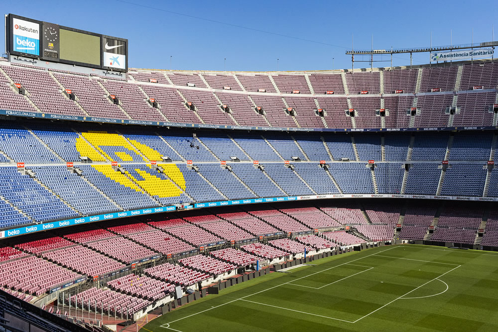 Interior of the stadium stands and indoor spaces Camp Nou In Barcelona in Spain