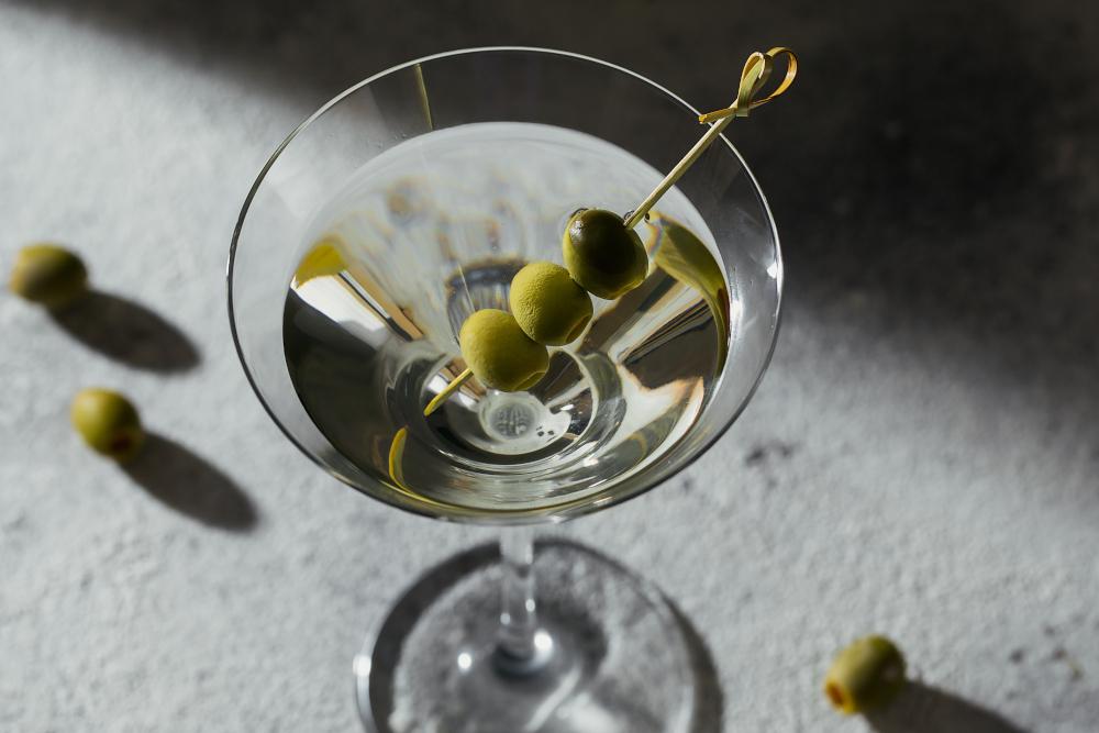 Glass of classic dry martini
