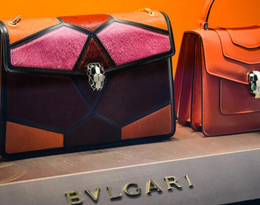 Bulgari store in Milan. Fashion week Bvlgari shopping