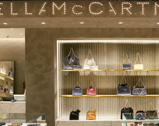 Stella McCartney products on display at a second flagship store of Rinascente in Rome