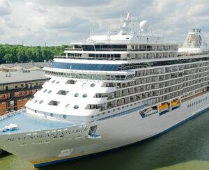"Regent line cruise ship ""Seven Seas Explorer"" at dock in Stockholm harbor"