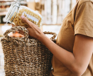 woman buying products